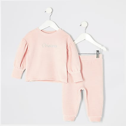 Mini girls pink velour cord sweatshirt outfit