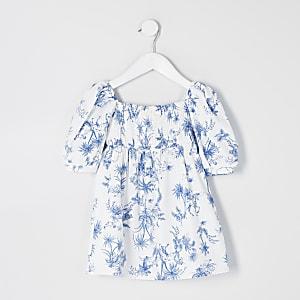 Mini – Weißes Kleid mit Print und Puffärmeln für Mädchen