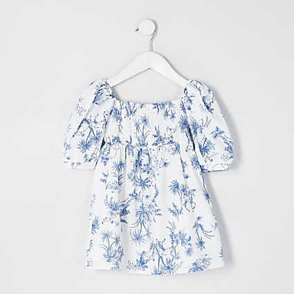 Mini girls white printed puff sleeve dress