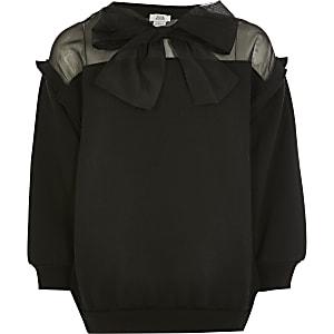 Schwarzes Organza-Sweatshirt mit Schleife für Mädchen