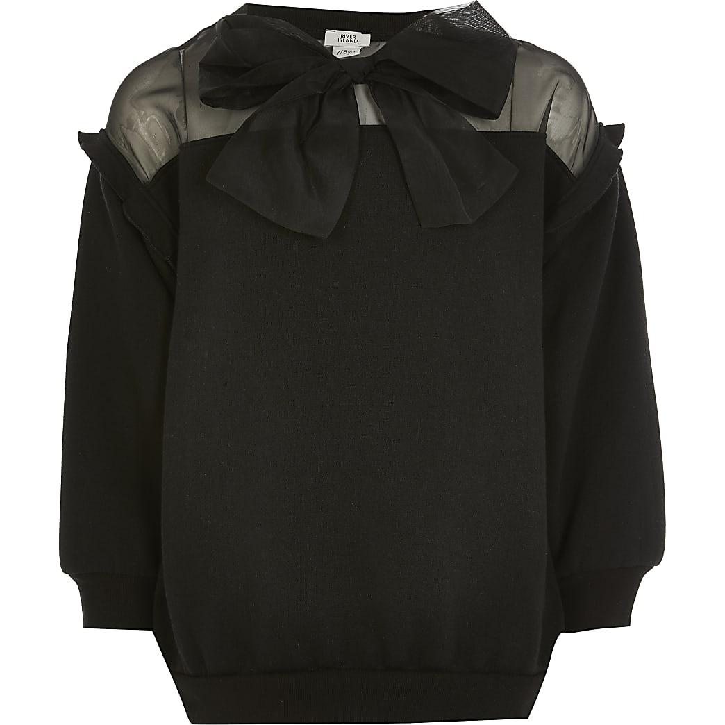Girls black organza bow sweatshirt
