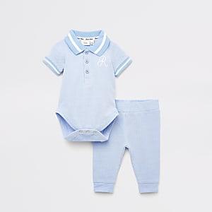 Ensemble avec body et legging R bleu pour bébé
