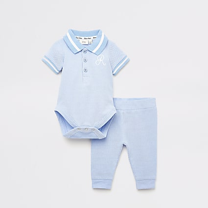 Baby blue R bodysuit and legging set