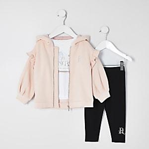 Tenue trois pièces avec sweatà capuche rose Mini fille