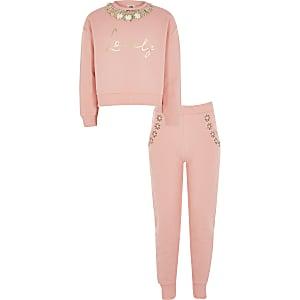 Koraalrode outfit met sweater met versierde kraag voor meisjes