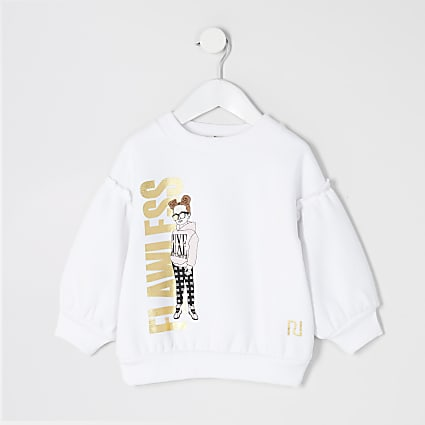 Mini girls white 'Flawless' girl sweatshirt