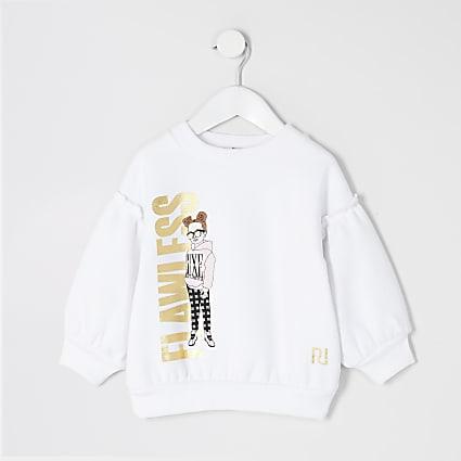 Mini girls white 'Flawless' girl sweatshirt