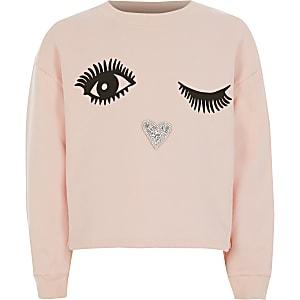 Roze sweater met verfraaide gezichtprint voor meisjes