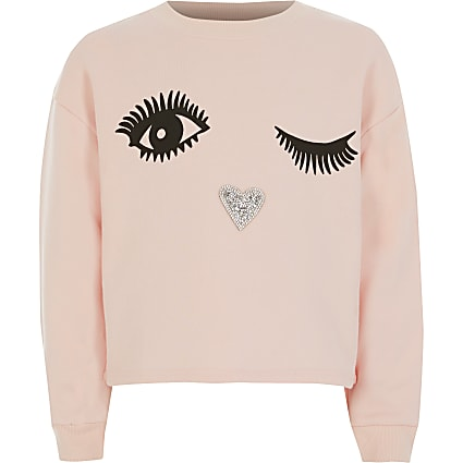 Girls pink face printed embellish sweatshirt