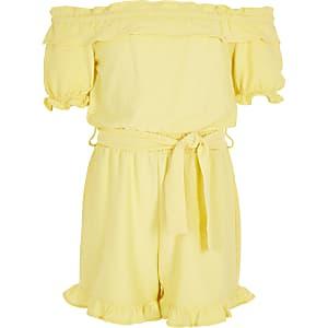 Gelber Bardot-Playsuit mit Rüschen und Bindegürtel für Mädchen