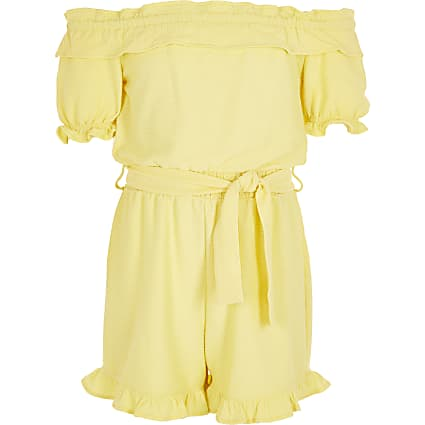 Girls yellow frill bardot belted playsuit