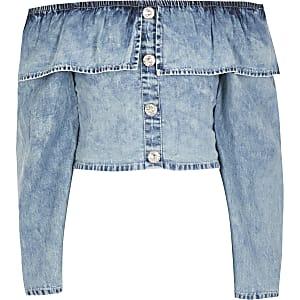 Blaues, langärmeliges Crop Top aus Jeansstoff mit Rüschen