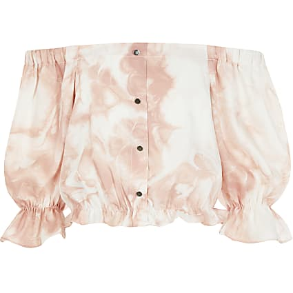 Girls pink tie dye bardot cropped top