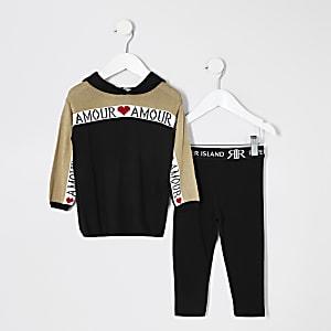 Mini – Schwarzes Hoodie-Outfit aus Strick mit Print für Mädchen
