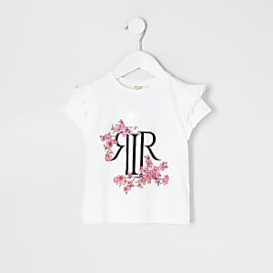 T-shirt RI en popeline blanc fleuri à volants Mini fille