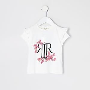 Mini - Wit T-shirt met RI-bloemenprint en ruches voor meisjes