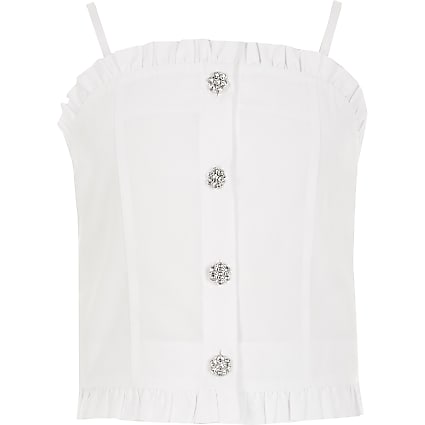 Girls white frill diamante button cami top