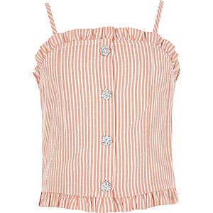 Cami-Top mit Glitzerknöpfen und roten Streifen für Mädchen