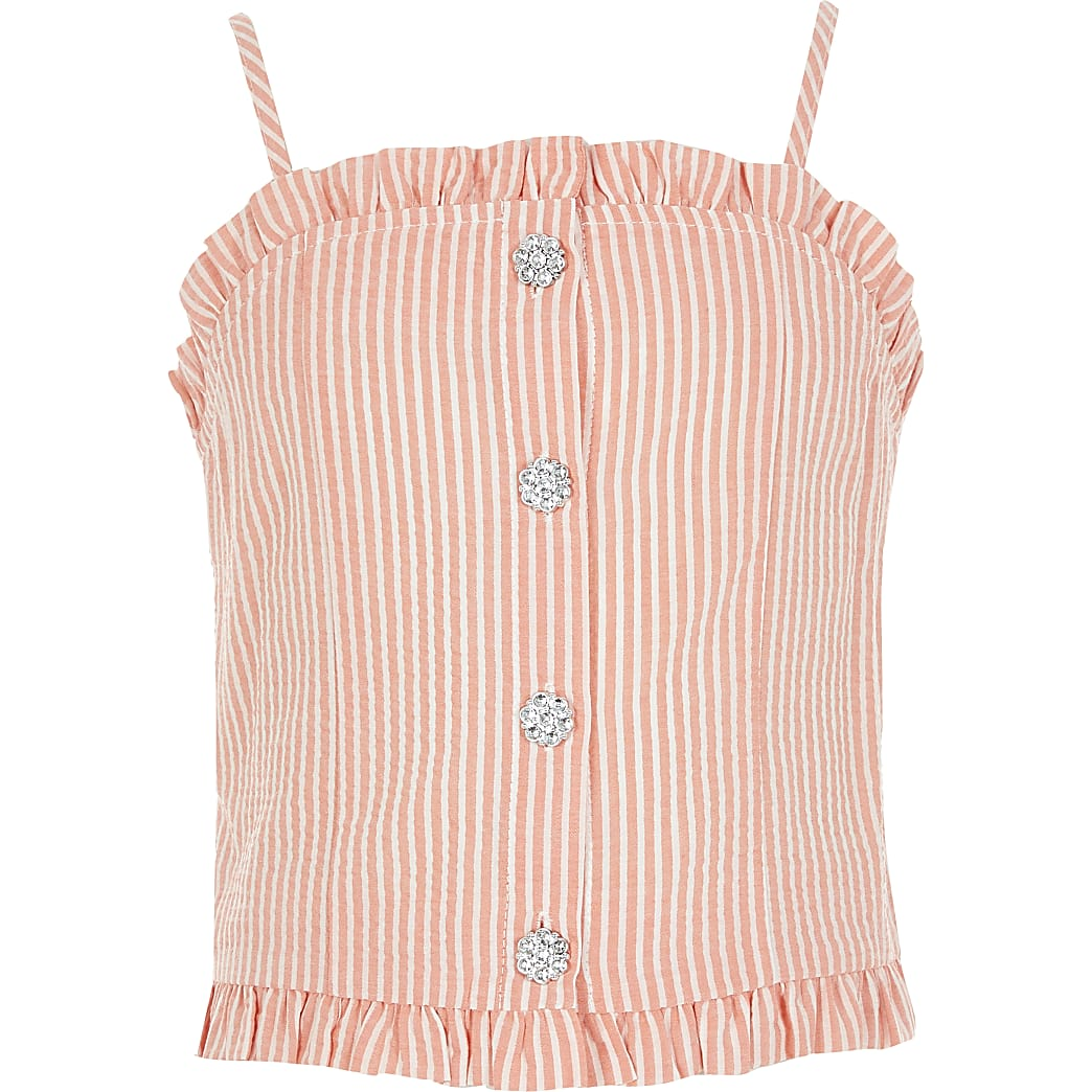Girls red stripe diamante button cami top