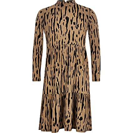 Girls beige leopard printed midi smock dress