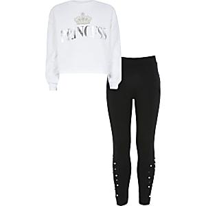 Witte outfit met sweater met 'Princess'-print voor meisjes