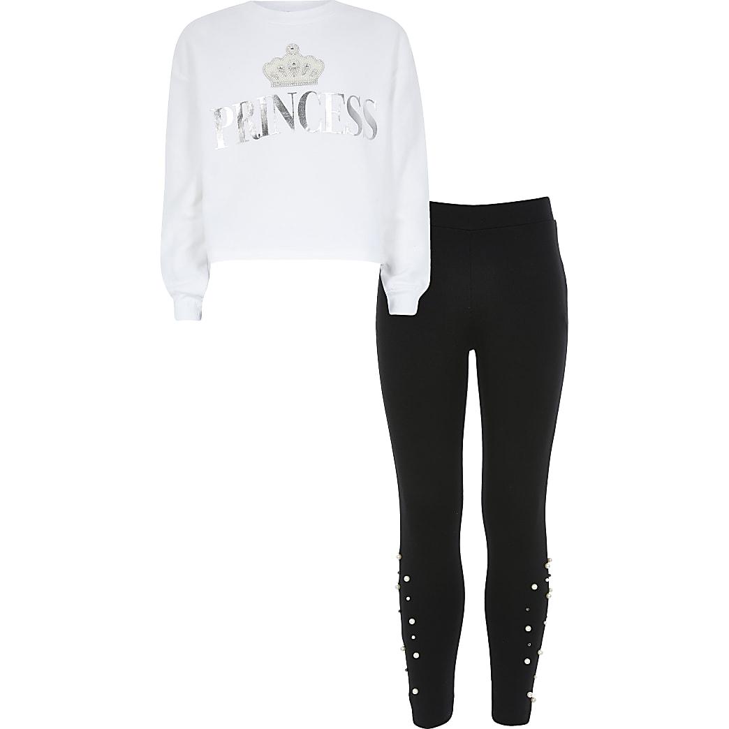 Girls white 'Princess' sweatshirt outfit