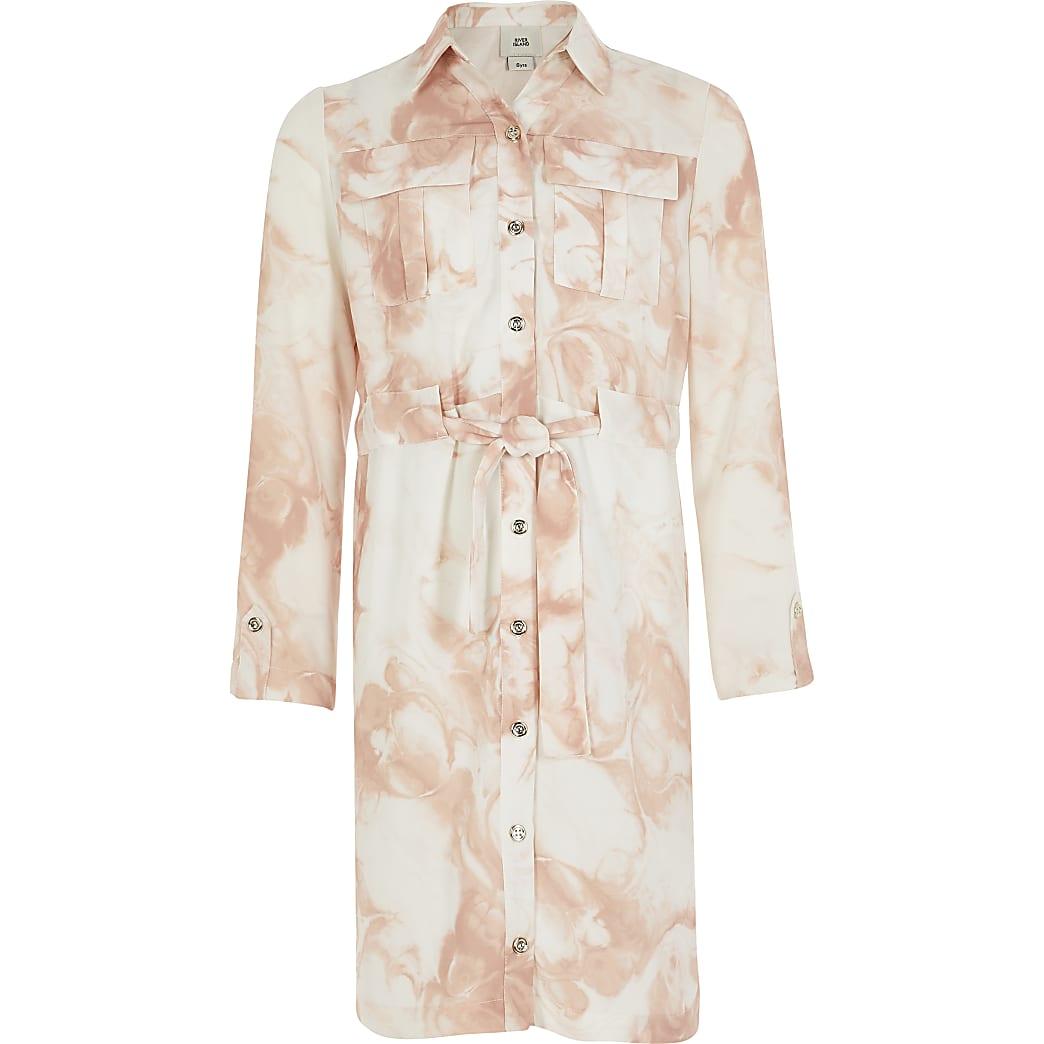 Girls pink marble printed belted shirt dress