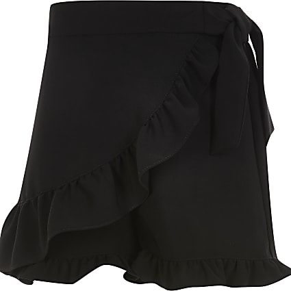Girls black wrap frill skort