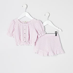 Mini - Roze gingham outfit met pofmouwen voor meisjes