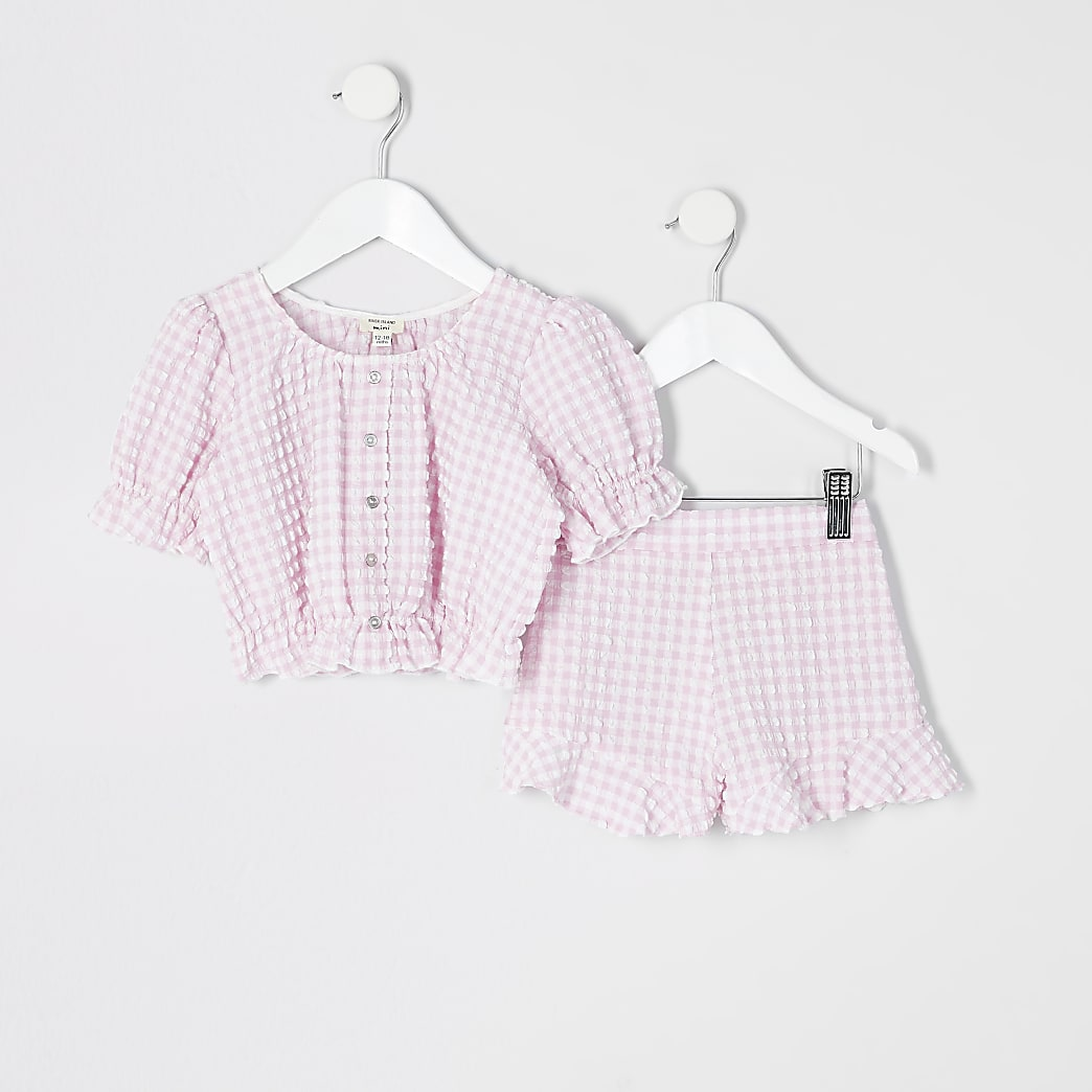 Mini girls pink gingham puff sleeve outfit