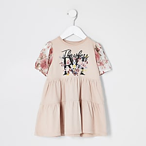 Mini – Gesmoktes Kleid in Rosa mit Print und Mesh-Ärmeln