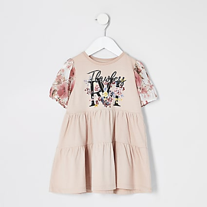 Mini girls pink print mesh sleeve smock dress