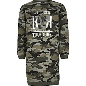 RVR-Sweatshirt-Kleid mit Camouflage-Muster in Khaki für Mädchen