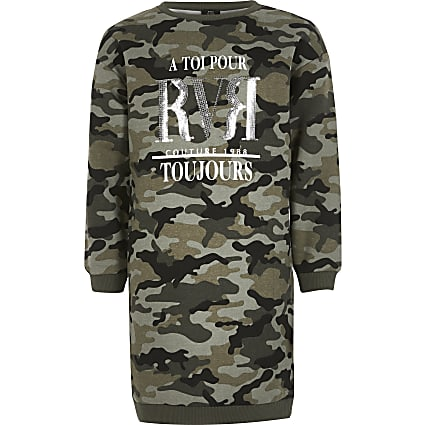 Girls khaki camo RVR sweat dress
