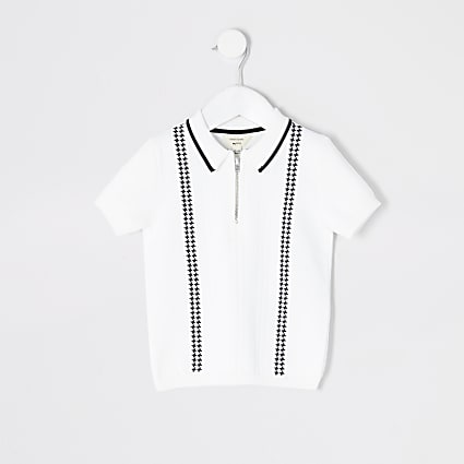 Mini boys white half zip knitted polo top