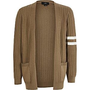 Boys beige stripe knitted cardigan