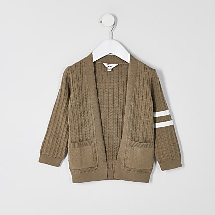Mini boys beige stripe knitted cardigan