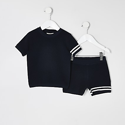Mini boys navy stripe knitted T-shirt outfit