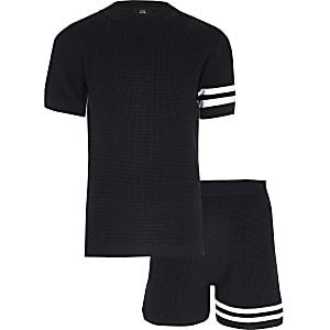 Marineblaues T-Shirt-Outfit aus Strick mit Streifen für Jungen
