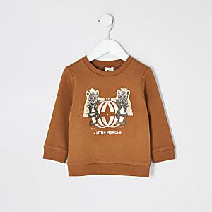 Mini - Oranje sweater met print voor jongens