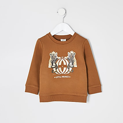 Mini boys orange printed sweatshirt