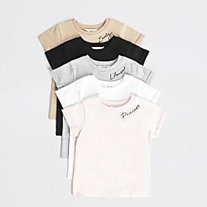 Mini – T-Shirt in mehreren Farben für Mädchen im5er-Pack