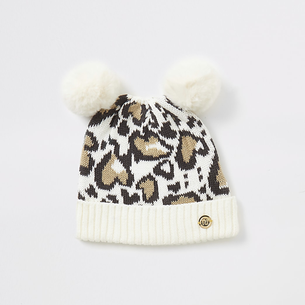 Baby cream leopard print knitted hat