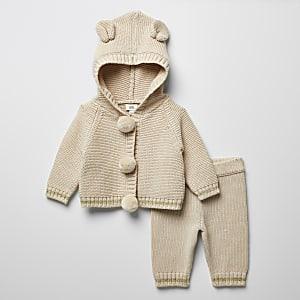 Baby-Strickoutfit in Creme mit Bommel-Cardigan
