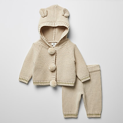 Baby cream pom pom knitted cardigan outfit