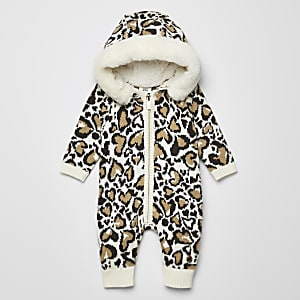 Baby cream knitted leopard print all in one