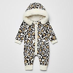 Crèmekleurige gebreide onesie met luipaardprint voor baby's