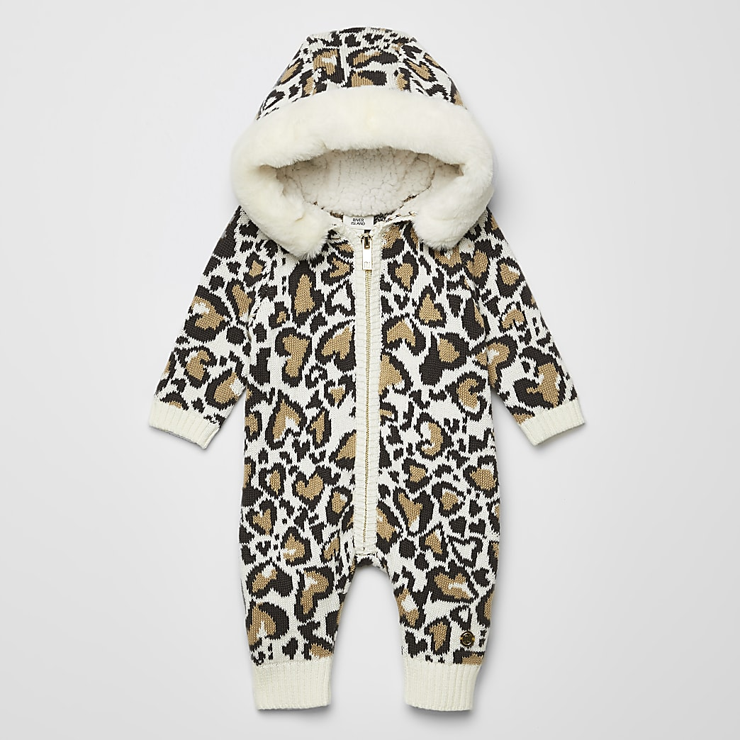 Baby cream knitted leopard print