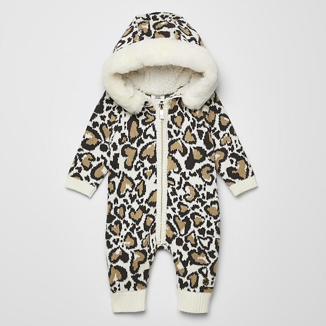 Crèmekleurig gebreid rompertje met luipaardprint voor baby's