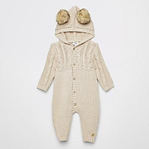 Baby – Strickeinteiler mit Kapuze und Zopfmuster in Creme